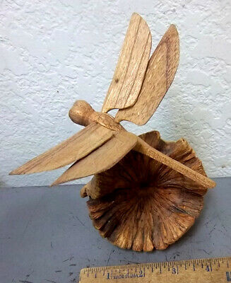 hand carved Dragonfly on Wood Burl - awesome piece of art, Great home decor