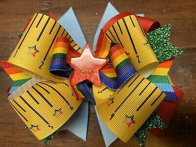 Back To School Girls Hair Bow Red Star Handmade Boutique Ribbon Stacked Ruler