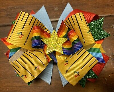 Back To School Girls Hair Bow Yellow Star Handmade Boutique Ribbon Stacked Ruler