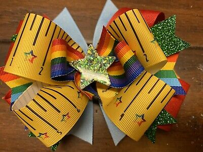 Back To School Girls Hair Bow Green Star Handmade Boutique Ribbon Stacked Ruler