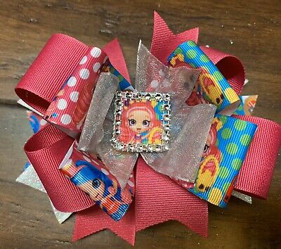 Shopkins Girls Hair Bow Clip Handmade Boutique Ribbon Stacked