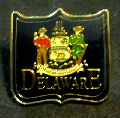"""State Of Delaware Lapel Pin Hat Pin Tie Tack Liberty & Independence 1"""" X 1"""" Euc"""
