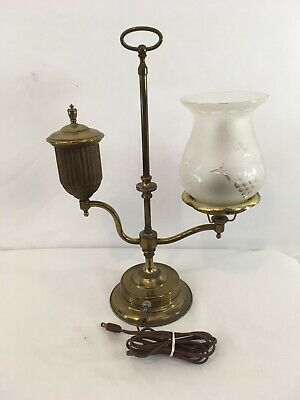 "Vtg 16.5"" Brass Early Mid Century Retro Electric Table Desk Lamp"