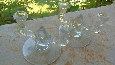 Antique Art Deco Glass Candlestick Holders-Double Arm Etched Flowers-Pair-Clear