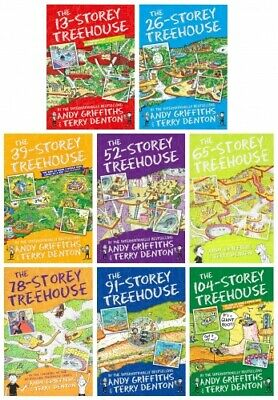 Andy Griffiths The Treehouse Collection 8 Books Set (13 Storey, 26 Storey, 39 St