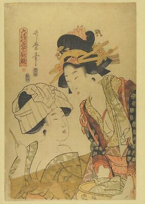 VICTORIA and ALBERT MUSEUM JAPANESE WOODBLOCK POSTCARD WASHING BEAUTIES CLOTHES