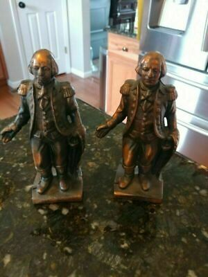"""Lot 2 VTG Cast Iron George Washington Coin Banks 6.5"""" Tall Heavy Collectable"""