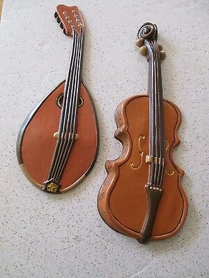 1950's WALL PLAQUES, VIOLA & LUTE MANDOLIN, CAST ALUMINUM BY ROYAL, HANDPAINTED