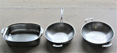 "3 Vollrath Stainless Large Pans 1= Roasting 11 x 15, 1  Fry 12"" 1- Mixing 13"""
