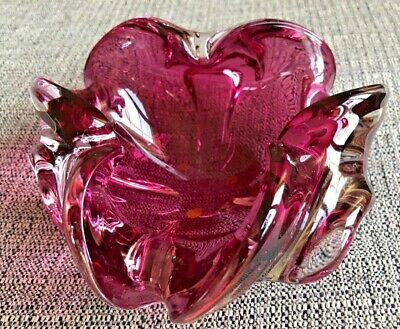 Vintage Mcm Murano Freeform Bowl-Candy Dish-Ashtray Cranberry Pink C. 1950'S