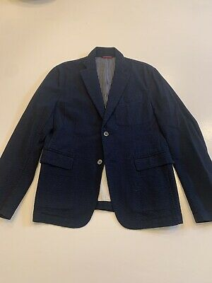 Ships Mens Seersucker Sports Jacket Blazer Navy Blue Size M Notch Lapel