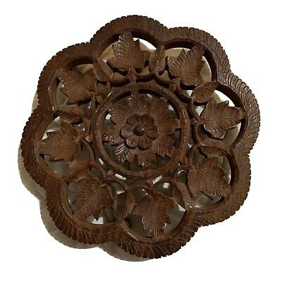 "Hand Carved 6"" Wood Floral Wooden Footed Trivet Kitchen Stand Honeycomb India"