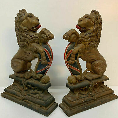 Antique Victorian Cast Iron Door Stop Door Porter Lion pair