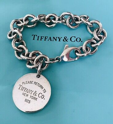 """Return to Tiffany Round Tag Bracelet Charm 925 Sterling 7"""" Length Authentic"""