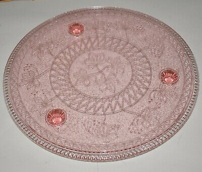 "Gorgeous PINK DEPRESSION GLASS, FOOTED CAKE PLATE 12"" Leaf Motif 1.25 tall"