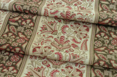 """Antique French fabric printed cotton curtain  Arts and Crafts style 1880-90 128"""""""