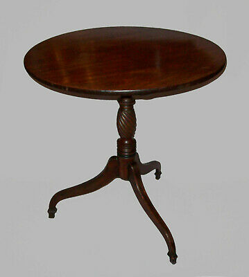 Antique Late 18th Early 19 C Mahogany Federal Tip Top Tripod Candlestand Table