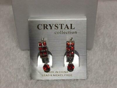 Red Crystal Silver Tone Huggie Earrings By Crystal Collection New Old Stock