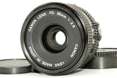 Mint Canon New FD NFD 35mm f/2.8 MF Wide Angle Standard Lens F&R Cap from Japan