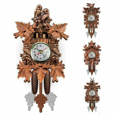 Vintage Home Decorative Bird Wall Clock Hanging Wood Cuckoo Clock Living Ro O4D9