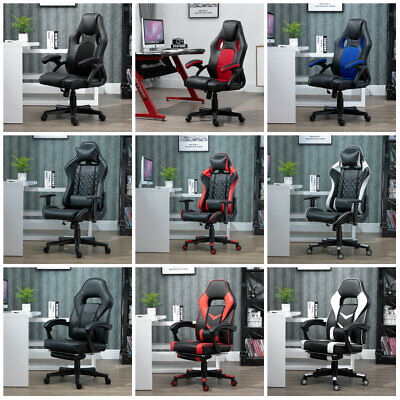 Swivel Racing Sport Gaming Office Chair Computer Chair Black White Blue Red Home