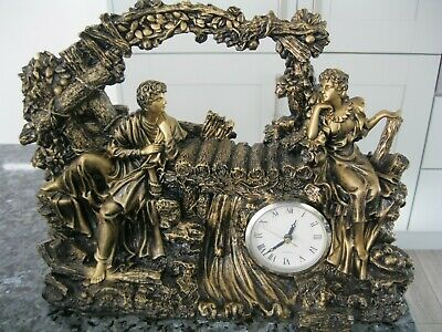 Rare Antique Heavy Bronzed Ancient Rome Mantel Clock Sculpture of Man and Woman