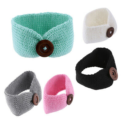 Toddler Infant Baby Girl Knitted Button Headbands Knotted Head Wrap Band W3D2
