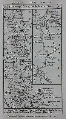 Original antique road map SUSSEX, TUNBRIDGE WELLS, KENT, DOVER, Paterson 1785