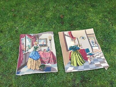 A Pair Vintage Tapestry Embroidered Pictures X 2 Victorian Theme Hand Stitched