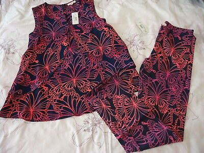 Debenhams bluezoo girls butterfly chiffon top with cotton leggings age 11Y NWT