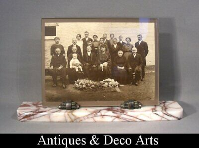 Large Art Deco Marble & Metal Picture- Photo Frame (Image 24x18cm)