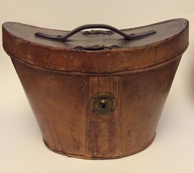 Vintage Brown Leather Top Hat Box Velvet Interior