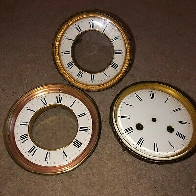 Three Individual Antique Clock Faces - Various Sizes And Condition