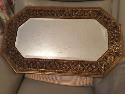 Vintage Antique Brass Frame Bevel Edge Arts & Crafts Style Wall Mirror