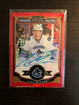 2015-16 o-pee-chee platinum Rookie Auto Red Prism 22/75 Jared McCann Penguins