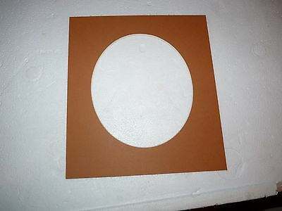 """Brown Photo mount. Oval aperture  6.5"""" x 5.5"""""""