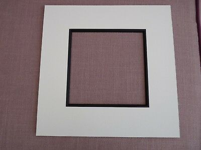 """White Photo mount with black mount slip for 5"""" square picture"""