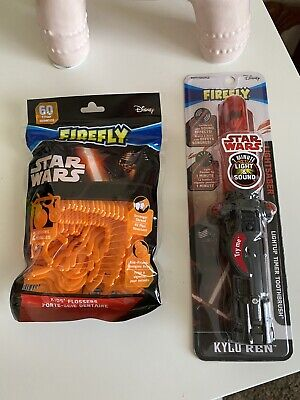 STAR WARS FIREFLY 1 Minute Light Up Toothbrush KYLO REN Force Awakens & Flossers