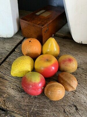 Antique Vintage Marble Alabaster Italian Italy Hand Painted Fruit Nuts SET OF 8