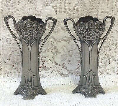 Pair Of WMF Art Nouveau Poppies Secessionist Silver Plated OX Spill / Bud Vases