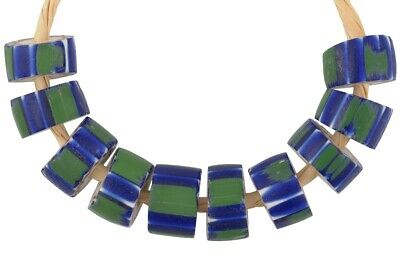 Antique chevron Venetian glass beads old African trade 4 layers green striped