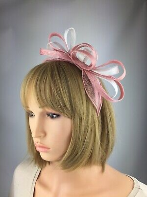 Blush Pink and White Fascinator Wedding Occasion Mother Of The Bride Races