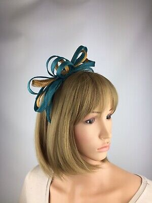 Teal Fascinator Gold Blue Green Wedding Mother Of The Bride Ascot Races