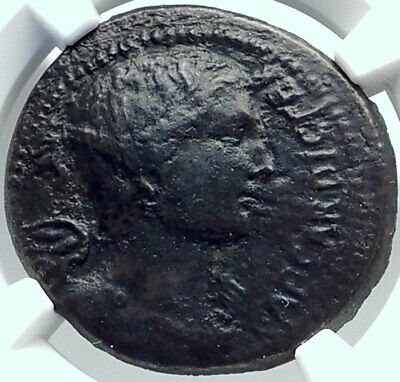 JULIUS CAESAR Genuine 46BC Authentic Ancient Roman Coin VICTORY NGC i82500