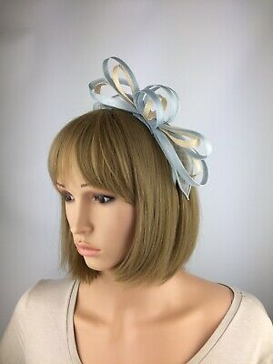 Pale Blue and Nude Light Blue Fascinator Wedding Occasion Hatinator Races Hat