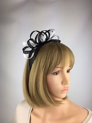 Black And White fascinator Wedding Hatinator Mother Of The Bride Ascot Races Hat