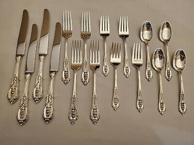 Wallace ROSE POINT Sterling Silver 16 Pc Flatware Silverware Set for 4 EXCELLENT