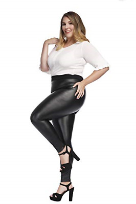 Women?s Faux Leather Leggings Plus Size Girls High Waisted Skinny Pants Black