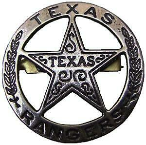 Etoile Texas Rangers En Metal Gris Vieilli Avec Attache Epingle