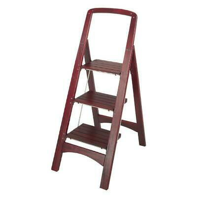 4 Foot Folding Household Step Ladder Adult Stool Wood Stepping Library Kitchen